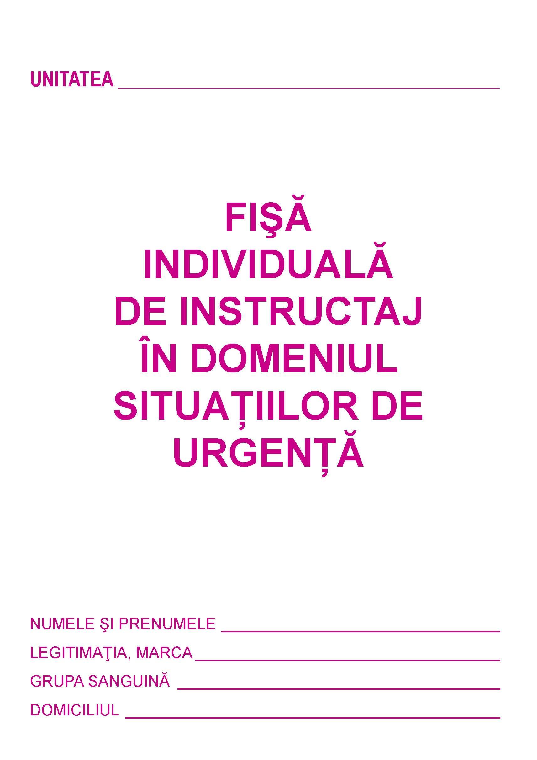 Fisa SU - Fisa de instruire individuala in domeniul Situatiilor de Urgenta