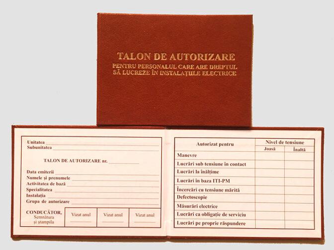 Talon de autorizare pentru personalul care are dreptul sa lucreze in instalatiile electrice