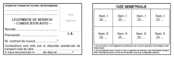 Interior Legitimatie de serviciu Conducator auto_Model 2